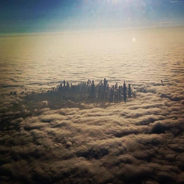 30.000 feetden chicagonun görünümü