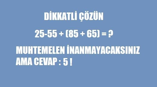 zorlayıcı bir matematik sorusu
