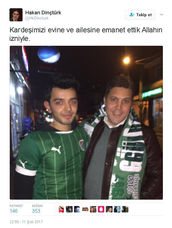 bursaspor kulübü'nün avukatı hakan dinçtürk, volkan şen'e saldıran taraftar ile ilgilenip evine bırakalı birkaç saat oldu.