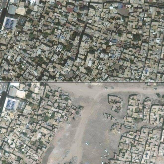 operasyonlardan önce ve sonra,diyarbakır'ın sur ilçesinden bir bölüm.(a)
