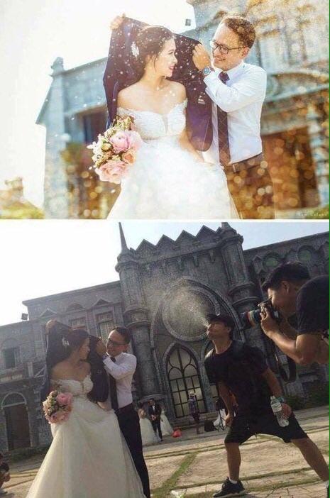 yagmur efektli düğün resmi gerçekte nasıl çekiliyor?