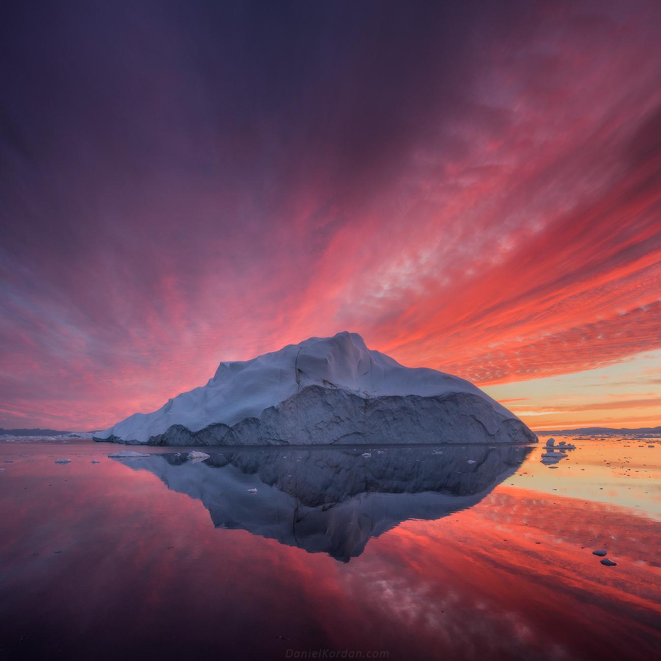 grönland da güneş doğumu