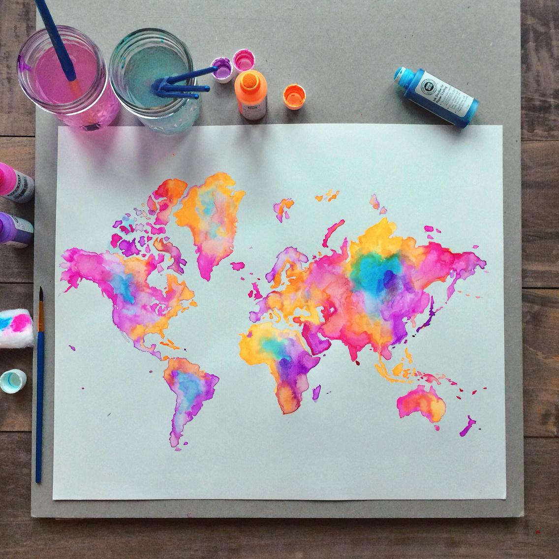 sulu boya dünya haritası