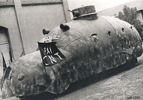 1938: ispanya iç savaşı sırasında anarşistlerin kullandığı özel bir zırhlı araç