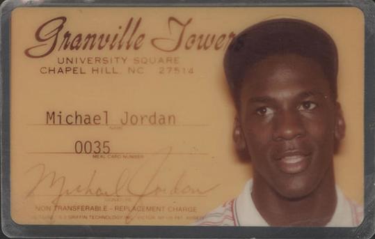 michael jordan'ın üniversite yurt kartı,1983