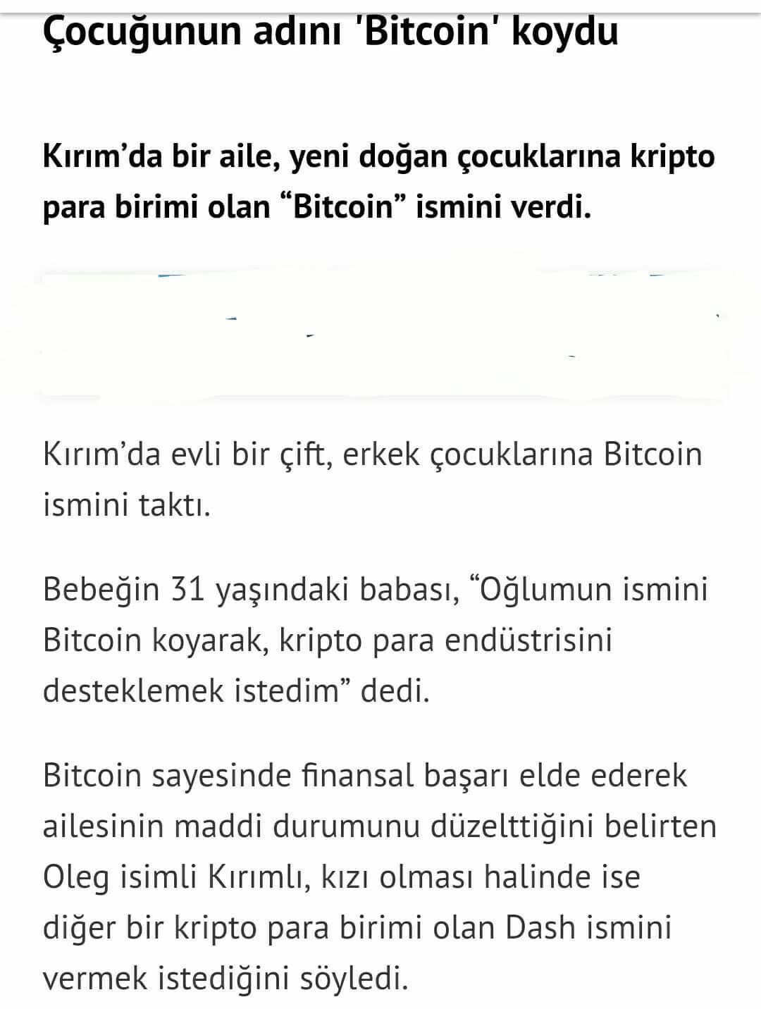 """oğlunun adını """"bitcoin"""" koyan adam"""
