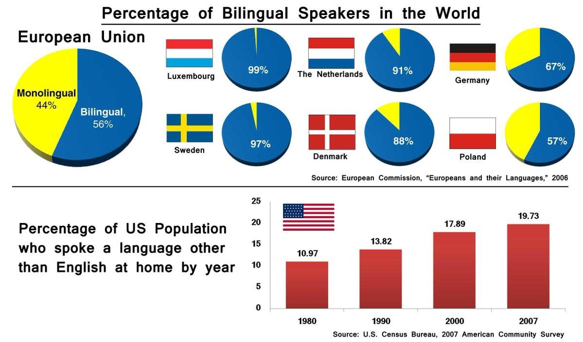 ülkelere göre çift dil bilme oranları