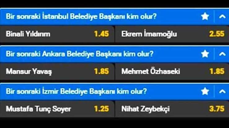 yabancı bahis şirketlerinin türkiye seçimleri için açtığı yabancı kullanıcıların oynayabildigi belediye başkanlık seçimleri oranları