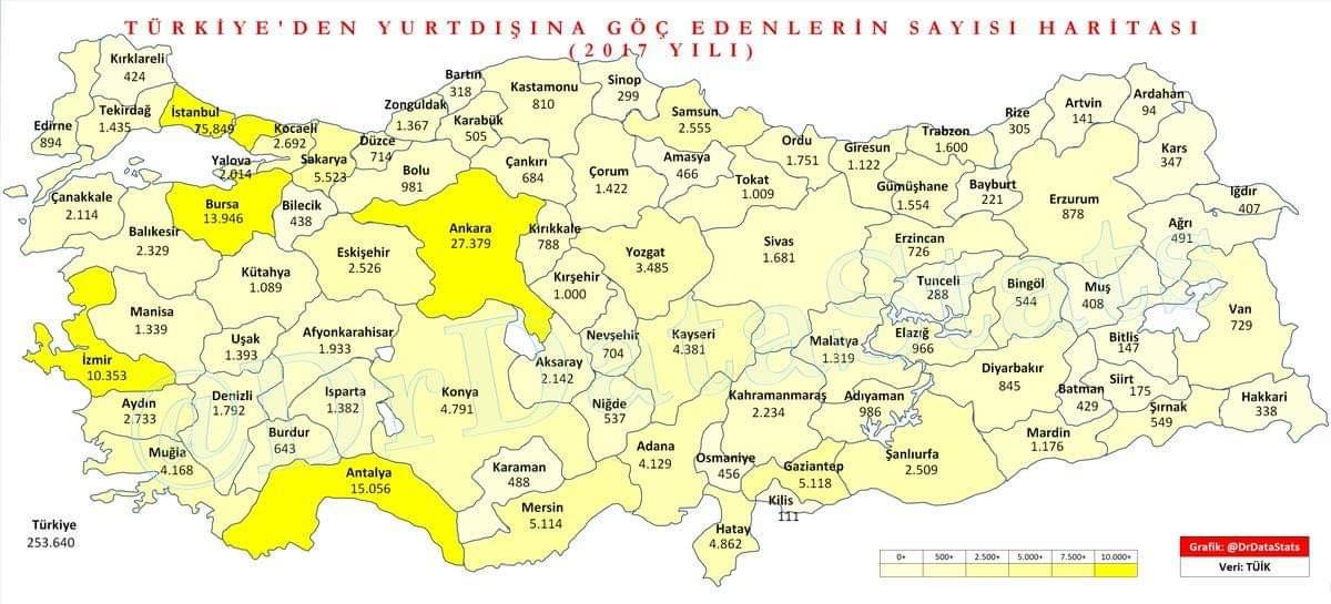 turkiye'den yurt dışına göç edenlerin sayı haritası (2017)