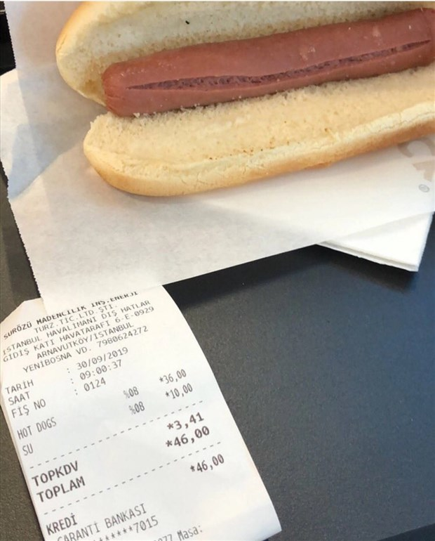 istanbul havalimanı'nda  sosisli fiyatı 36  tl