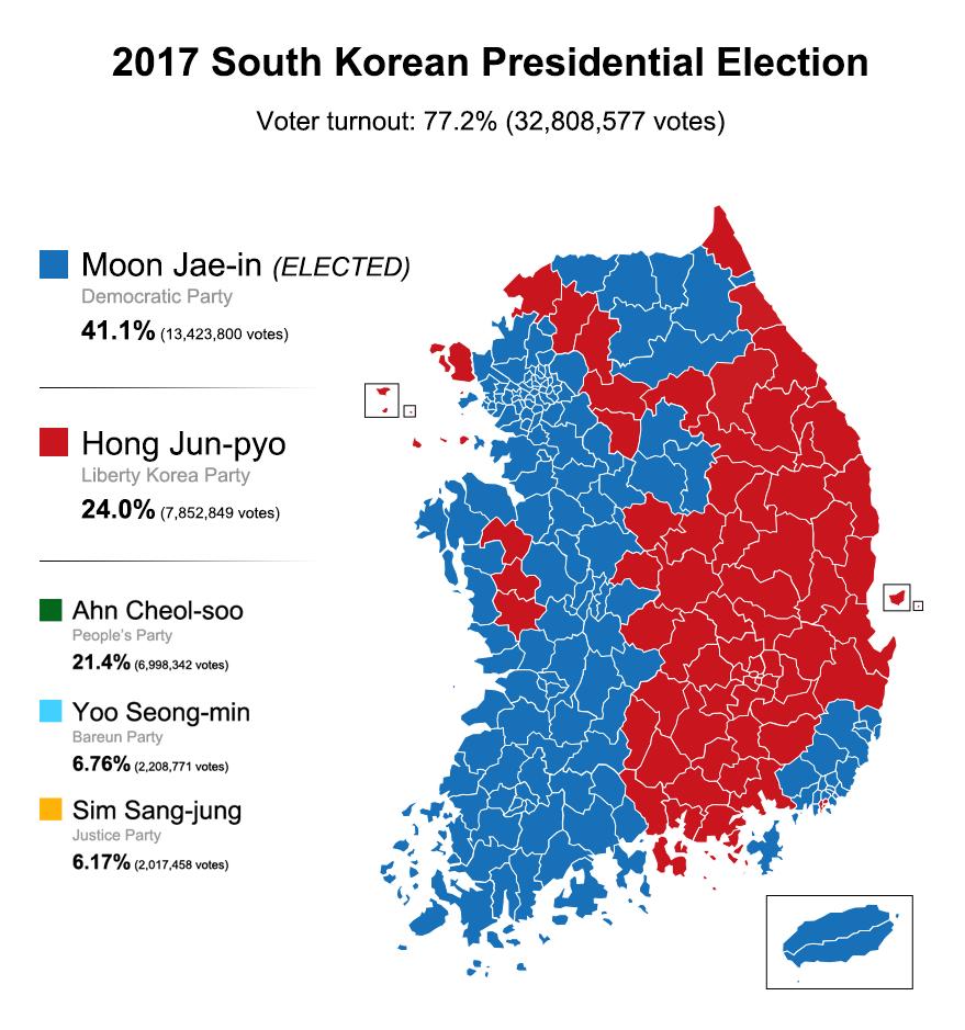 güney kore 2017 seçim sonuçları